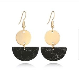 Black Marble  and Gold Accent Dangle Earrings